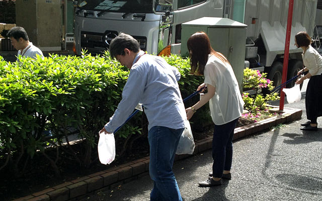 Clean-up outside office building